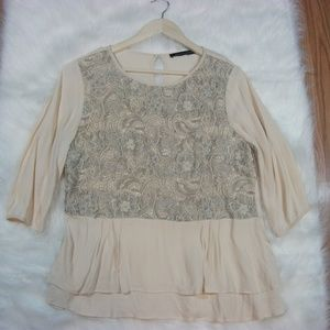 French Connection Lace Ruffle Blouse